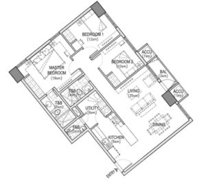 The Arton | West Tower Three Bedroom Layout BluePrint