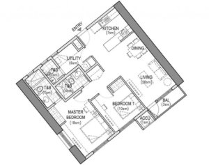 The Arton | West Tower Two Bedroom Layout Blueprint