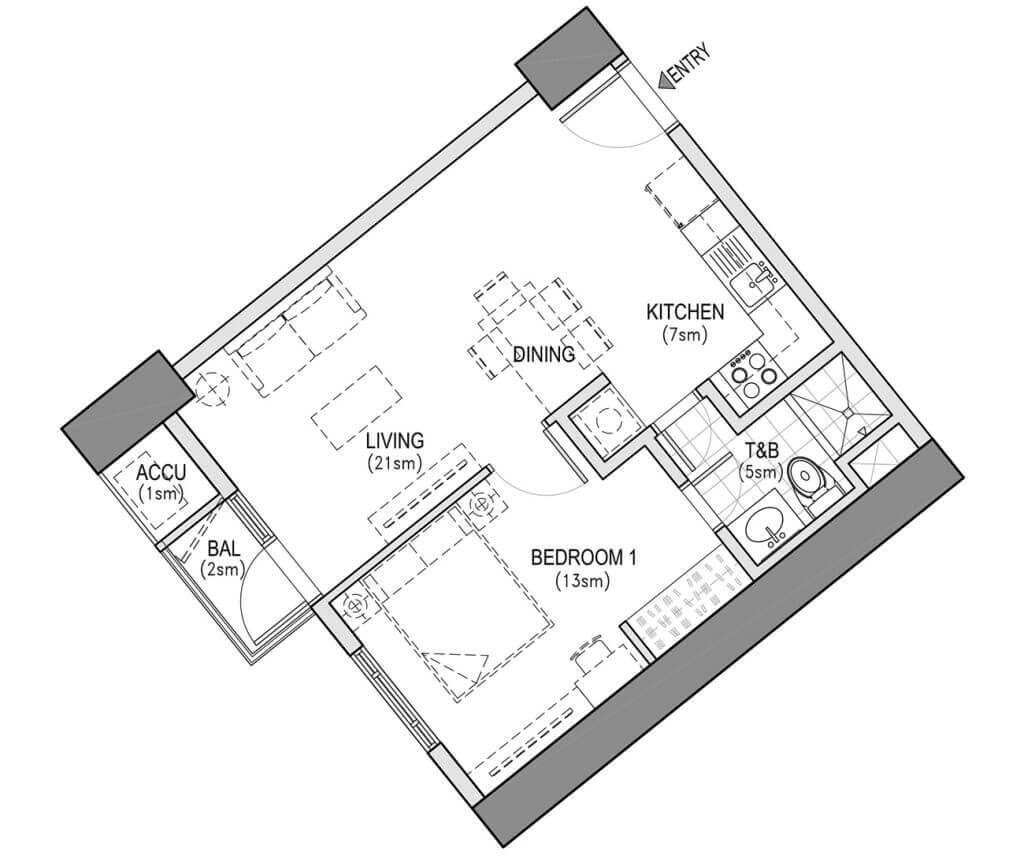 The Arton West TowerONE BEDROOMTYPICAL UNIT LAYOUT49 SQM